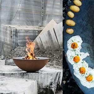 Cheminee Exterieur Bois : foyer ext rieur design et barbecue bois en acier pour une ~ Premium-room.com Idées de Décoration