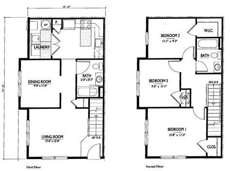 small two story house floor plans small 2 story 3 bedroom house plans home deco plans