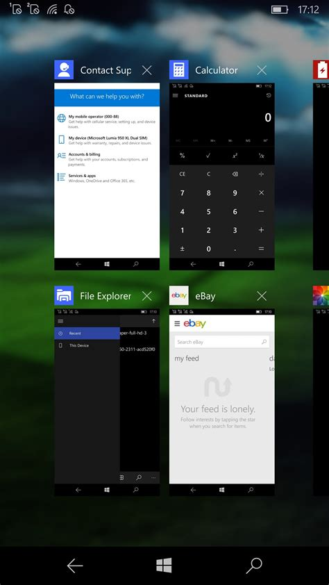 windows 10 mobile redstone build supports 16 apps in multitasking view