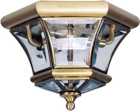 outdoor flush mount ceiling light fixtures livex 7052 01 monterey georgetown antique brass outdoor