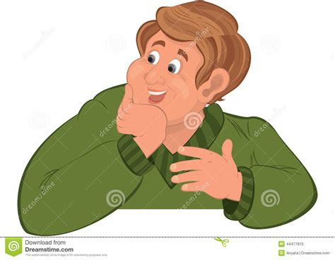 Happy Cartoon Man Torso In Green Sweater Holding Chin