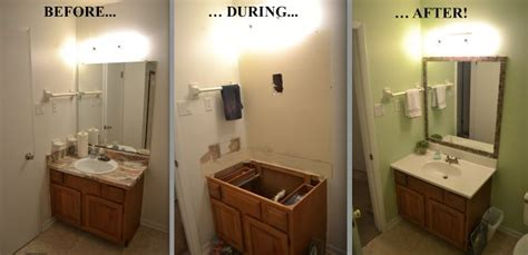 inexpensive bathroom updates cheap bathroom updates add tiles to a borderless mirror and switch out an ugly countertop