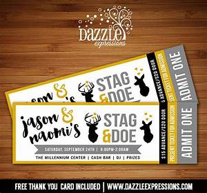 printable stag and doe party ticket invitation deer With jack and jill tickets free templates