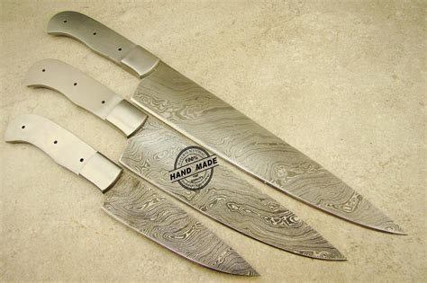 Lot Of 3 Pcs X Large Professional Chef Knife Blank Blade