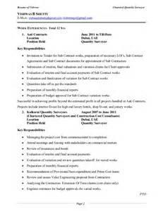 curriculum vitae of quantity surveyor resume quantity surveyor