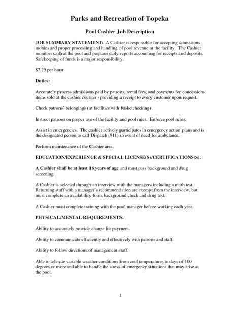 retail cashier description for resume resume