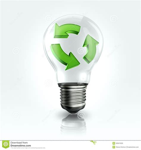 a light bulb with recyclable logo inside royalty free