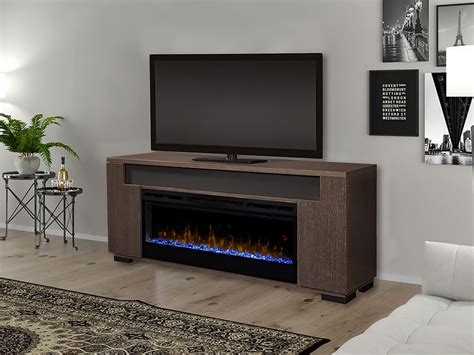 haley electric fireplace entertainment center  rift grey