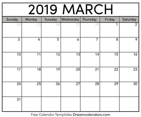 printable march  calendar