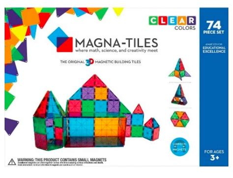 hot magna tiles 74 piece clear colors set for just 72