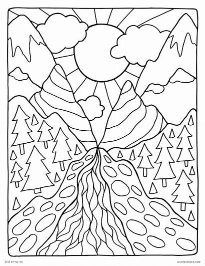 Coloring Nature Pages Landscape Mountain Printable Adults