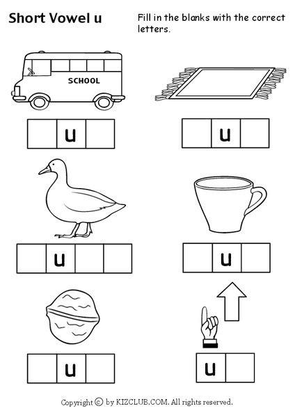 short vowel  worksheet  kindergarten st grade