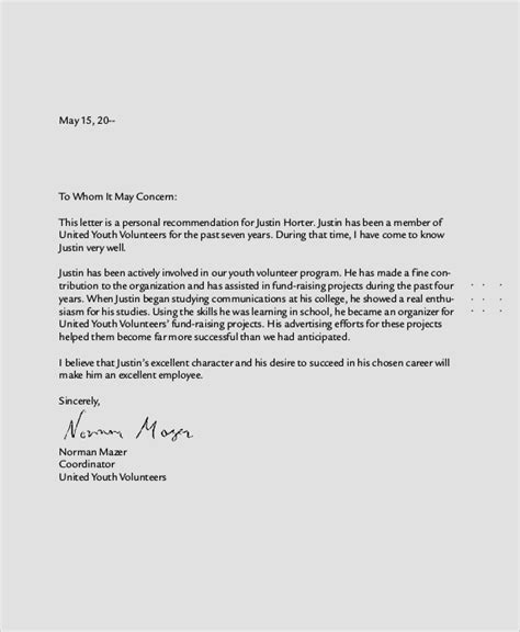 sample personal reference letter  documents   word