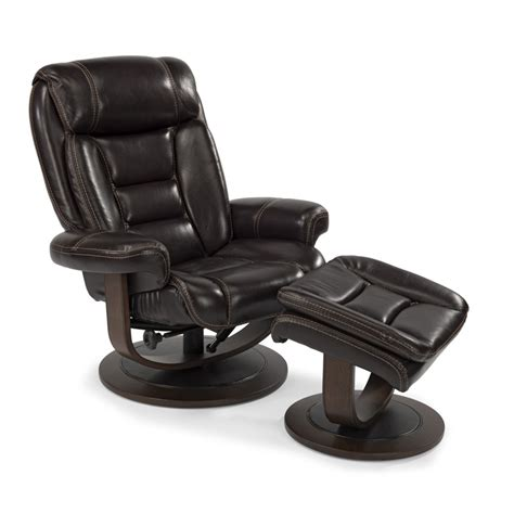 flexsteel 1455 co leather chair and ottoman