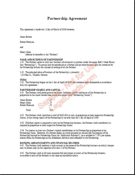 partnership agreement  printable documents