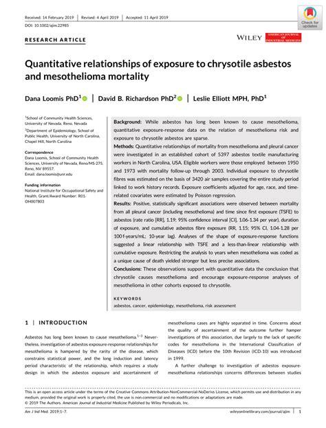 quantitative relationships  exposure  chrysotile