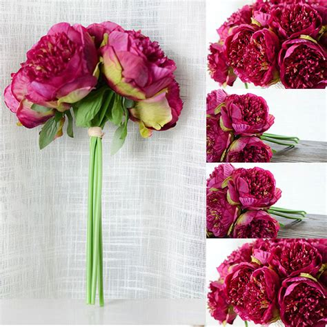 good cheap artificial fake peony silk flowers bridal