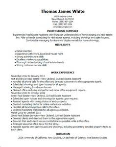 real estate resume sles professional real estate assistant templates to showcase your talent myperfectresume