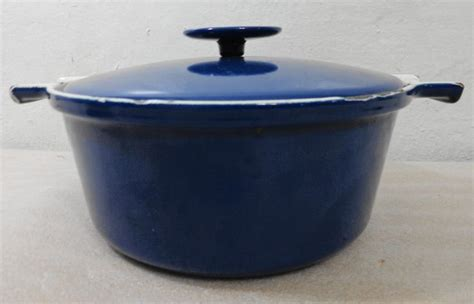 copco blue white cast iron enamel dutch oven  lid  enamel dutch oven serving piece