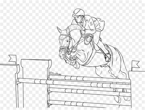 Horse Show Jumping Equestrian Coloring Book
