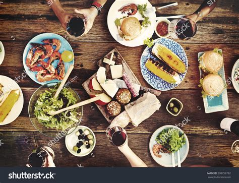 cuisine concept food table delicious meal prepare cuisine stock photo