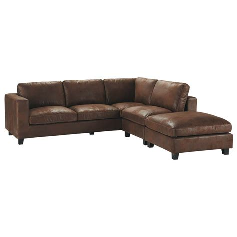 canapé d angle cuir vieilli marron canapé d 39 angle 5 places en suédine marron kennedy