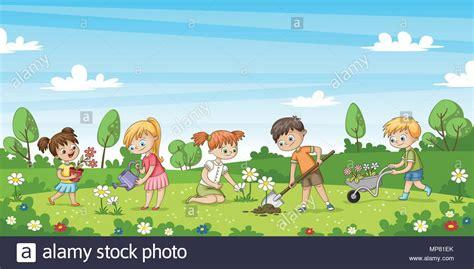 suesse kinder arbeiten im garten lustige cartoon charakter