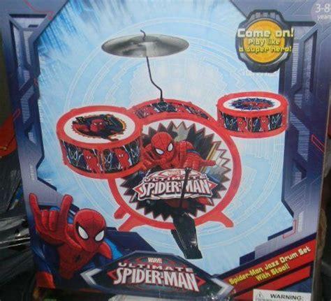 marvel boys spider man toy drum set bad   bone