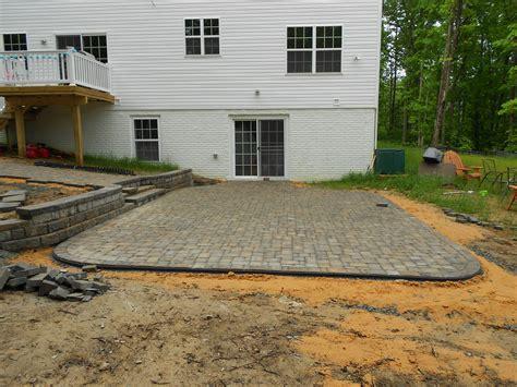 brick paver patio walkway and retaining wall