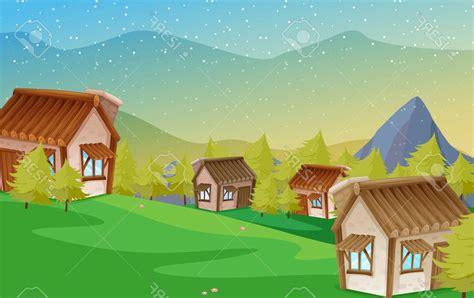 gambar pemandangan gunung rumah kumpulan gambar