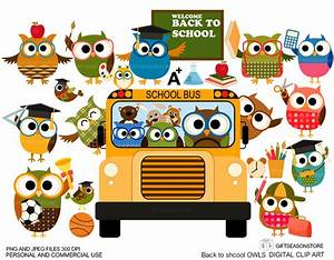 Back to school owl clip art for Personal and Commercial use