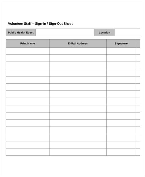 Volunteer Signin Sheet Templates  14+ Free Pdf Documents. Debt Payoff Planner. Printable Weekly Planner 2017 Template. Unbelievable Square Business Card Holders. Cleaning Brochure Templates. Blank Medication Administration Record. Meeting Schedule Template Word Template. Inventory List Template 2. Weight Watchers Tracking Sheet Template