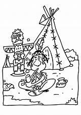 Coloring Teepee Pages Indian sketch template