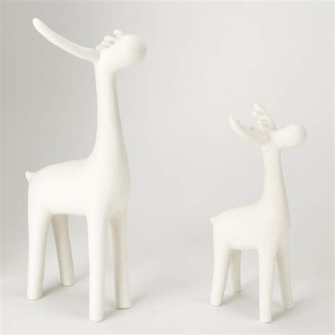 gisela graham ceramic reindeer white set of 2 iwoot
