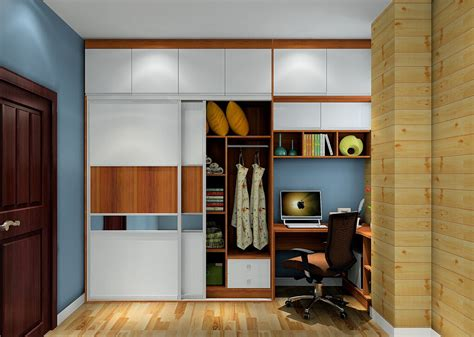wardrobe and desk combo for minimalist bedroom 3d house