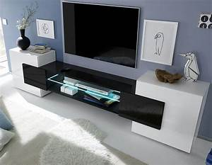 meuble tv moderne laque blanc et noir trivia 3 salon With superior meuble salon contemporain design 3 meuble tlvision blanc et noir laqu brillant sofamobili