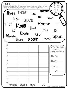 sight word graphing 2nd grade by the moffatt tpt