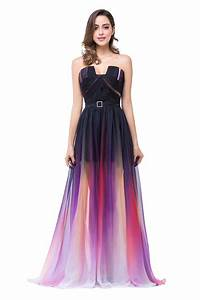 popular notched neck ombre purple bridesmaid dress a line With purple ombre wedding dress