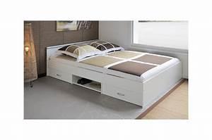 Lit Tiroir 140 : lit 2 couchages blanc 140x200 t te de lit 2 tiroirs et 1 niche cbc meubles ~ Teatrodelosmanantiales.com Idées de Décoration