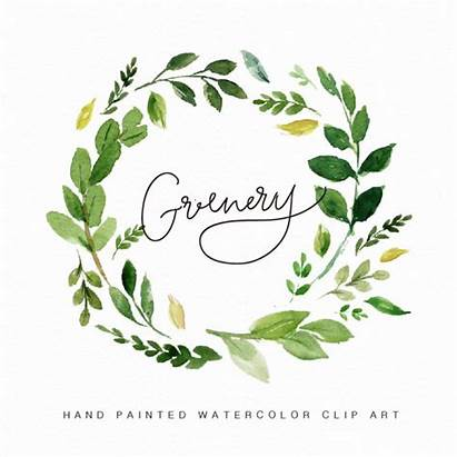 Wreath Watercolor Clipart Flower Greenery Painted Hand