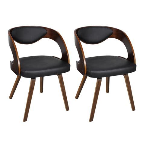 chaise cuir et bois 2 chaises de cuisine salon salle à manger design noir bois