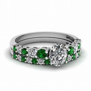 Buy emerald wedding ring sets online fascinating diamonds for Emerald green wedding ring