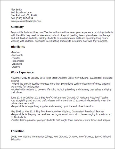 1 assistant preschool resume templates try them