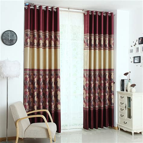 graceful solid and leaf print curtains of burgundy color