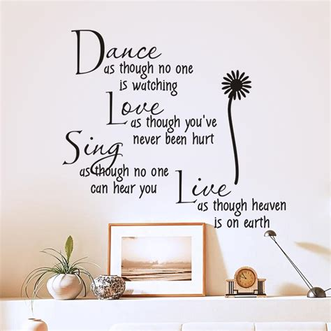Dance love sing live sports vinyl wall decal sticker mural quotes words d003dancelikev. Dance Love Sing Live Inspirational Quotes Wall Decal Stickers Office Bedroom Home Decoration ...