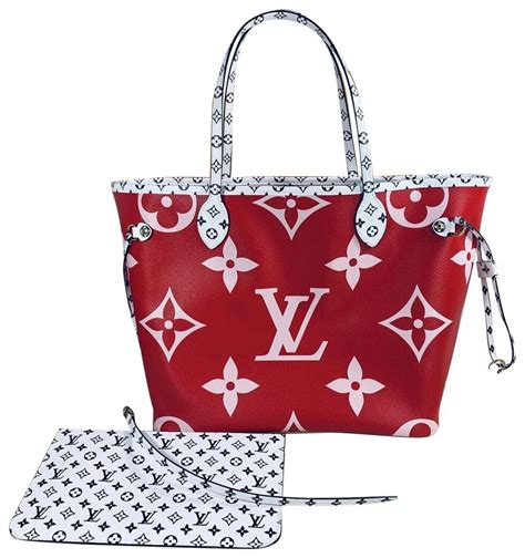 louis vuitton neverfull  mm giant monogram red pink