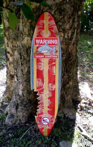 vintage shark bite sign 4 foot solid wood surfboard wall