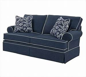 Broyhill emily 6262 for Navy blue sectional sofa with white piping