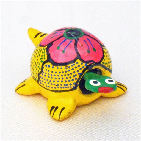 brightly colored mini mexican hand painted bobble turtle