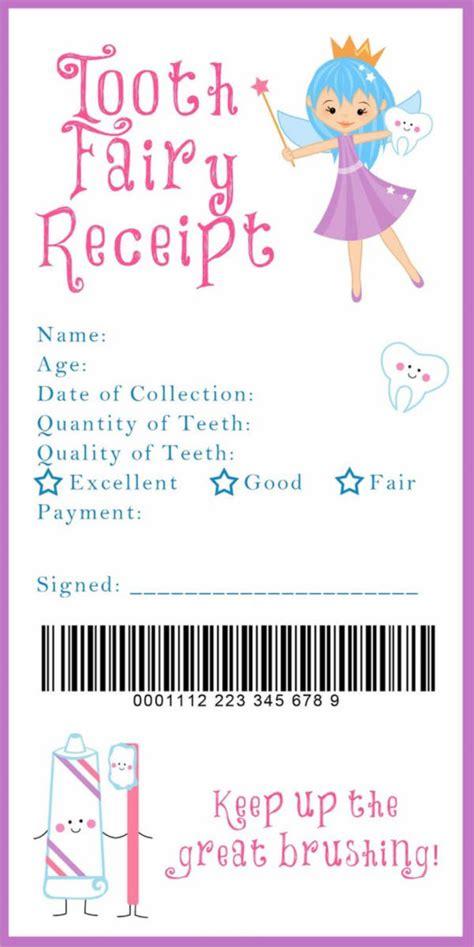 tooth fairy receipt samples templates